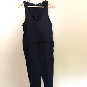 Topshop black satin jumpsuit